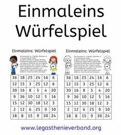 Einmaleins: Würfelspiel. Einfach ausdrucken und spielen.