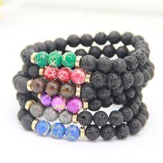 Ailatu New Design High Quality Black Lava Stone Jewelry Sea Sediment Imperial Beads Stretch Energy Yoga Gift Bracelets