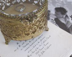 Vintage Matson Jewelry Casket Glass Box Ring Bearer Box. $45.00, via Etsy.