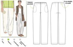 Tessa Pant - Sizes 20 - Woven Pant PDF Sewing Pattern by Style Arc - Sewing Project - Digital Pattern Pdf Sewing Patterns, Clothing Patterns, Print Patterns, Women's Clothing, Sewing Pants, Sewing Clothes, Patterned Jeans, Pattern Cutting, Pants Pattern