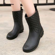 Botas De Chuva mulher À Prova D' Água 2016 Novo Designer Da Marca Botas Zapatos Mujer Bota Senhoras Rainboots Feminina Zip Sapatos de Salto Quadrado em Botas das mulheres de Sapatos no AliExpress.com | Alibaba Group