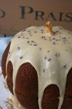 Hopeful Homemaker is really using her creative juices when she came up with this Pumpkin Lavender Cake. How cute is this?