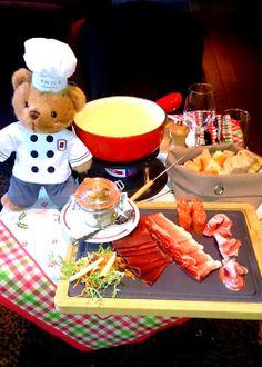 William, our ambassador, preparing a delicious Swiss fondue at Chutney's restaurant