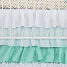 Mint Ruffle Crib Skirt