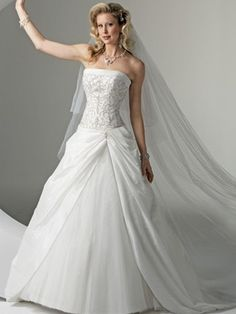 princess ball gown strapless dropped waist satin embroidery ...