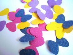 Embellishments Colorful die cut butterlies glitter by Wcards, $3.50