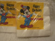 Vintage Napkins Mickey Mouse Happy Birthday New In by rarefinds4u