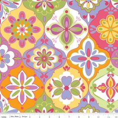"""1/2 Yard - Riley Blake Designs """"Extravaganza"""" by Lila Tueller Designs, pattern L4641 Multi-Ceramic by RainyDayJayne on Etsy"""