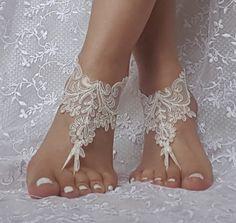 Free ship  ivory  wedding barefoot sandals wedding prom party