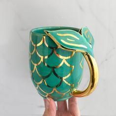 Handmade Mermaid Mug with gold scales by Modern Mud, Mermaid Tail Mug - handmade mugs Cute Coffee Mugs, Cool Mugs, Coffee Cups, Disney Coffee Mugs, Mermaid Mugs, Mermaid Art, Mermaid Salon, I Need Vitamin Sea, Cute Cups