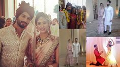 Shaheed Kapoor & Mira Rajput Wedding Picture Mira Rajput, Sherwani, Bollywood Stars, Celebrity Weddings, Wedding Pictures, Sari, India, Celebrities, Fashion
