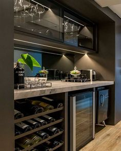 We like the under counter wine storage, wine fridge, and ice maker. Just need to see if we can add a bar sink Home Wine Bar, Home Wine Cellars, Mini Bars, Home Bar Decor, Home Decor Kitchen, Billard Bar, Bar Sala, Home Bar Essentials, Wet Bar Basement