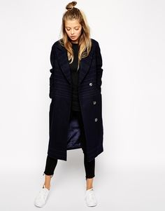 ASOS Coat in Cocoon with Pinstripe
