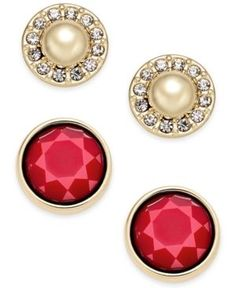 Charter Club Gold-Tone Imitation Pearl Pave and Colored Stone 2-Pc. Set Stud Earrings, Only at Macy's  -