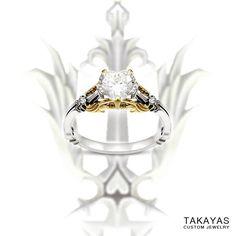 Custom Wedding Ring Custom gold Kingdom Hearts inspired engagement ring for Cory and Sheila designed by Takayas Custom Jewelry - Heart Wedding Rings, Heart Engagement Rings, Custom Wedding Rings, Heart Ring, Thin Gold Chain, Gold Chains, Geek Jewelry, Fine Jewelry, Body Jewelry