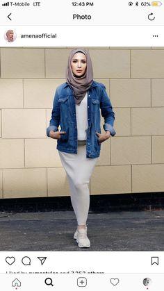 Islamic Fashion, Muslim Fashion, Modest Fashion, Hijab Fashion, Fashion Outfits, Hijab Ideas, Jacket Jeans, Hijab Styles, Muslim Girls