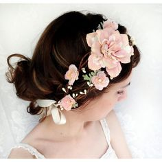 bridal headpiece, blush pink flower head wreath, mint green, wedding... ($165) ❤ liked on Polyvore featuring accessories, hair accessories, hair, pictures, hair styles, icon, pink flower garland, pink rose garland, faux flower garland and bridal flower hair accessories
