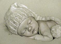 """""""New Year Baby (Pencil Portrait)"""" - Original Fine Art for Sale - © Rita Kirkman Pencil Portrait Drawing, Portrait Art, Pencil Drawings, Art Drawings, Horse Drawings, Drawing Art, Face Illustration, Baby Drawing, Color Pencil Art"""
