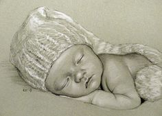 """New Year Baby"" conte pencil, 8x10 inches, by Rita Kirkman"