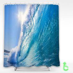 Cheap beautiful ocean wave Shower Curtain