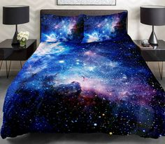 Blue galaxy  bedding set  ,including a duvet cover ,a bed sheet or a fitted sheet ,and two matching pillow covers