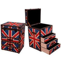 Mid Century Pair of Union Jack Trunk Form Chests
