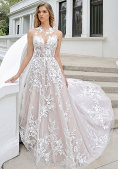 Wedding Dress out of Blue by Enzoani (Michelle), silhouette a-line, neckline illusion, floor, without sleeves Champaign Wedding Dress, Lilac Wedding Dresses, Weeding Dresses, Bride Dresses, Illusion Neckline Wedding Dress, Wedding Dress Sleeves, Wedding Dress Gallery, Wedding Shit, Wedding Ideas