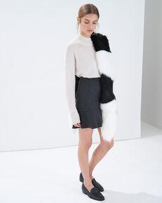 Monochrome fluffy faux fur shawl - Atterley Road @atterleyroad
