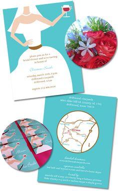 Wine Wedding Shower Invitations