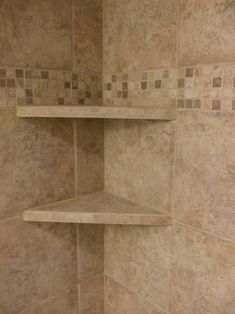 9 Skillful Cool Tricks: Fiberglass Shower Remodeling Decor garden tub to shower remodel.Corner Shower Remodel On A Budget tub to shower remodeling how to remove. Tile Shower Shelf, Shower Corner Shelf, Bath Tiles, Bathroom Shelves, Small Bathroom, Shower Bathroom, Bathroom Ideas, Bathroom Organization, Bathroom Canvas