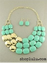 $19.99  - Turquoise and Gold Chunky Necklace . I found this on www.shoplulu.com