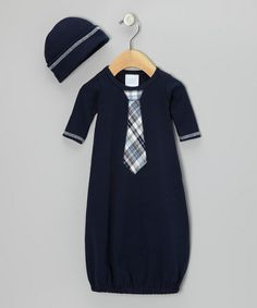 Look what I found on #zulily! Navy Plaid Tie Gown & Beanie - Infant by Too Sweet #zulilyfinds
