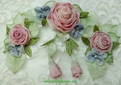 I ❤ ribbonwork . . . Pink Roses With Blue Flowers By lambsandivydesigns.com