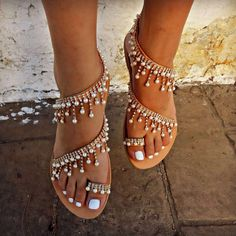 SALE Women sandals 2018 new summer shoes flat pearl sandals comfortable string bead slippers women casual sandals size 34 - 43 Item Type: SandalsClosure Type: Slip-OnOutsole Material: PVCSide Vamp Type: OpenBack Counter Type: Back StrapInsole Material: Bo Pearl Shoes, Pearl Sandals, Flat Sandals, Beaded Sandals, Sandals 2018, Summer Sandals, Flat Shoes, Gladiator Sandals, Bridal Sandals