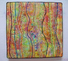 My First Stupendous Stitching project Fiber Art Quilts, Textile Fiber Art, Art Quilting, Hand Embroidery, Machine Embroidery, Embroidery Ideas, Fabric Postcards, Jellyroll Quilts, Sewing Hacks