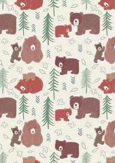 Big Bear Little Bear A102.2 - Big bear, Little bear on cream from Lewis & Irene // Juberry Fabrics