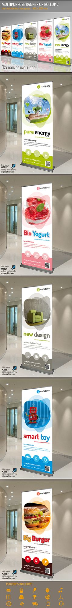 Buy Multipurpose Banner or Rollup 2 by Paulnomade on GraphicRiver. Modern and elegant design for banner/rollup. Perfect for manufacturers and sallers and business promotion. Signage Design, Ad Design, Brochure Design, Banner Design, Layout Design, Print Design, Rollup Design, Pop Up Banner, Vinyl Banners