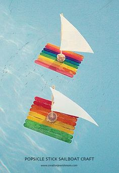 Ahhh, wouldn't you like to set sail on a popsicle stick sailboat over the clear blue ocean right about now? Well we certainly can dream can't we? And especially if we gather together a few simple supp