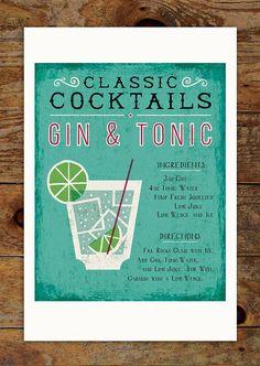 11x14 Classic Cocktails Art Print Gin & Tonic Drink by groovygravy