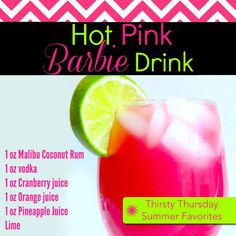 Thirsty Thursday Mixed Drink – Hot Pink Barbie This is a great drink that comes in alcoholic and non-alcoholic! So you and your whole family can enjoy this bright pink drink. For non-alcoholic: 1 oz Cranberry juice 1 oz Orange juice 1 oz… Pink Alcoholic Drinks, Acholic Drinks, Fun Drinks Alcohol, Alcohol Drink Recipes, Frozen Drinks, Cocktail Drinks, Bourbon Drinks, Beverages, Pink Mixed Drinks