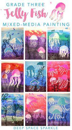 Kunst in der Grundschule: Quallen unter Wasser
