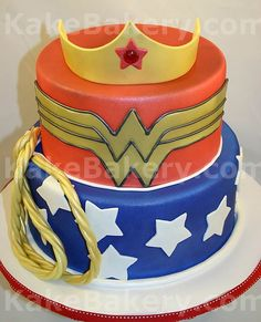 Wonder Woman cake- I did this for my birthday! Except I used a girl shaped cake pan and made it the actual super hero. :)