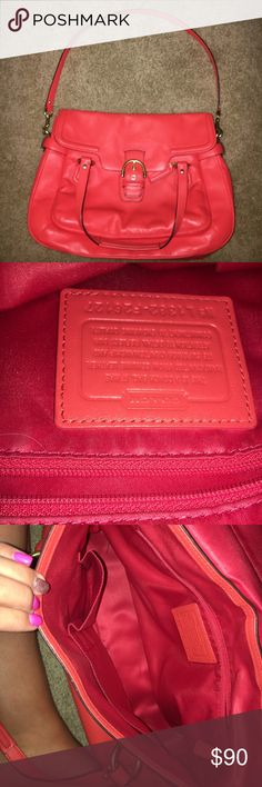 Peach Leather Coach Purse All Leather Coach Purse in peach color with gold buckle and loops. Coach Bags Shoulder Bags