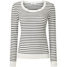 Precis Petite Alexa Stripe Pointelle Jumper, Multi/Black ($74) ❤ liked on Polyvore featuring tops, sweaters, petite, long sleeve jumper, horizontal striped sweater, lightweight sweaters, striped knitwear and petite sweaters