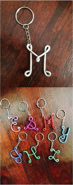 How adorable are these handmade wire monogram keychains! | Made on Hatch.co by independent makers
