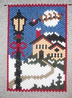Handmade Hand Beaded Christmas Eve Beaded Banner with Nylon Cord Hanger Peyote Patterns, Loom Patterns, Beading Patterns, Cross Stitch Patterns, Pony Bead Crafts, Beaded Crafts, Beaded Banners, Beaded Christmas Ornaments, Peyote Beading