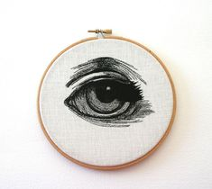 Hand Embroidered Eye Illustrations by Sam P. Gibson Wooden Embroidery Hoops, Embroidery Art, Cross Stitch Embroidery, Embroidery Patterns, Ribbon Embroidery, Eye Study, Eye Illustration, Realistic Eye Drawing, Eyes Artwork
