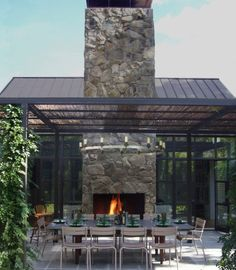Exterior - Contemporary Patio Area With Stone Outdoor Fireplace Long Table The Brown Chairs And The Iron Pergola: Artistic Pergola Design Id. Outdoor Retreat, Outdoor Rooms, Outdoor Living, Indoor Outdoor, Outdoor Stone, Pergola Designs, Patio Design, Pergola Kits, Renovation Design