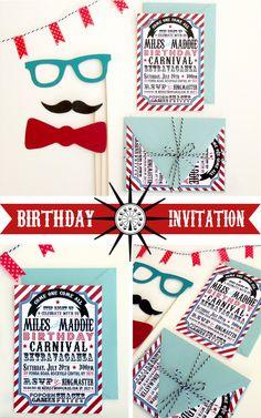 Carnival Birthday Invitations | Stewart Design Studios | www.stewartdesignstudios.com