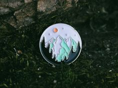 Mountains - Soft Enamel Antique Silver Lapel Pin | Mountain scene | Mountain forest | Sunset illustration | Landscape